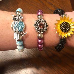 3 Snap Button Bracelets-w/Sunflower & owl snap +10